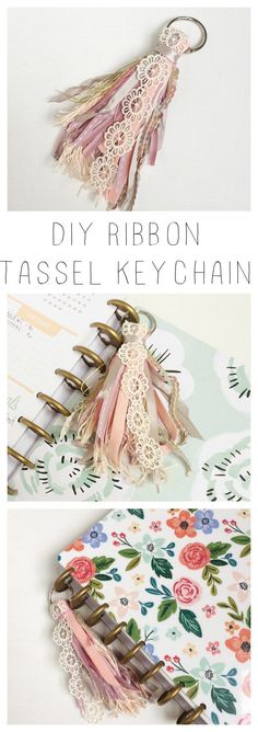 Make your own ribbon tassel keychain - add to a planner, phone, or car keys to help you find them easier!