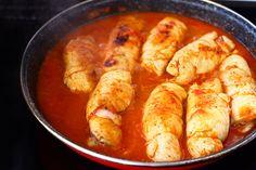 Involtini de pui - rulouri din piept de pui cu branza si sunca|Laura Laurențiu Romanian Food, Carne, Shrimp, Sausage, Fine Dining, Sausages, Chinese Sausage