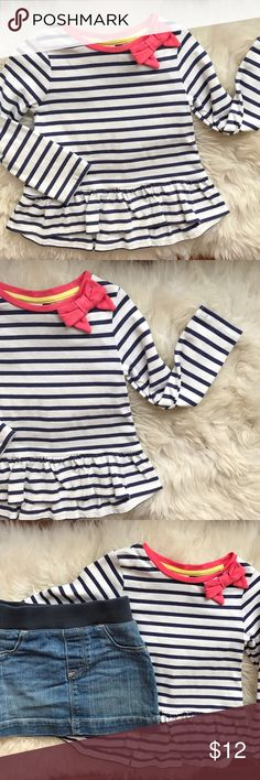 Gymboree Striped, Ruffle Bow Top EUC Gymboree navy & white striped long sleeved top with ruffle bottom and pink bow detail. EUC, easy to dress up or down. Gymboree Shirts & Tops Blouses