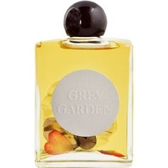 Grey Garden Scent. Pressed blooms float inside this floral infusion complimented by a citrusy hint of bergamot. This perfume is made from premium grade rose absolute and fine quality plant-based essential oils; it contains no alcohol or chemicals. A sizable 60 milliliters, a little over 2 ounces. For a limited time, Grey Garden will come with a complimentary set of assorted pressed flower temporary tattoos.