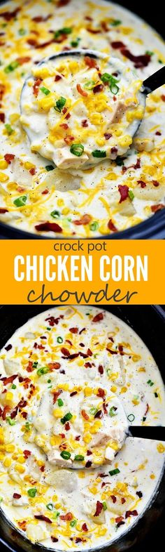 Comforting and delicious Chicken Corn Chowder made in the crock pot!