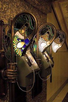 Harrods of London Art Nouveau Telephone Lamps via Art Deco ad FB. Interior Art Nouveau, Architecture Art Nouveau, Design Art Nouveau, Art And Architecture, Architecture Details, Art Nouveau Furniture, Deco Furniture, Plywood Furniture, Handmade Furniture
