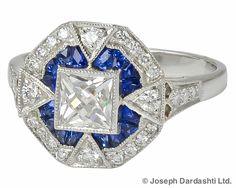 Platinum Ring with Sapphire and Diamond