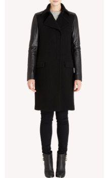 Barneys New York Leather Sleeve Coat