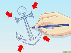 How to Draw an Anchor: 8 Steps (with Pictures) - wikiHow Anchor Pictures, Pictures Images, Kitchen Sign Diy, Anchor Clip Art, Origami Hat, Anchor Drawings, Anchor Tattoos, Beginner Painting, Seashell Crafts