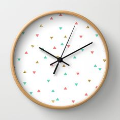 Mint Coral Gold Glitter Triangle Scatter Wall Clock