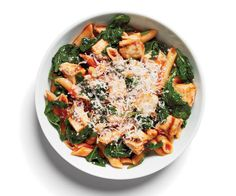 Healthy Chicken Parmigiana with Penne  4 oz grilled chicken, diced  1/2 cup tomato sauce  1 cup cooked spinach (sauteed in 1 tsp olive oil)  1/2 cup whole-wheat penne  1 1/2 Tbsp grated Parmesan