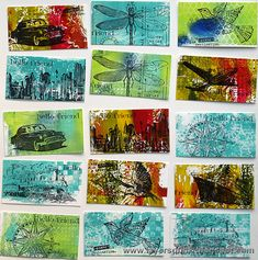 Layers of ink - Gelli printed business cards, made for Simon Says Stamp Monday Challenge Blog, using Gelli Arts gel printing plate and Tim Holtz stamps.