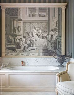Eye For Design: Decorating With Grisaille For Soft Elegant Walls Bathroom Interior Design, Interior Decorating, Grand Art, Grisaille, French Interior, Reno, French Country Decorating, Wall Treatments, Wall Wallpaper