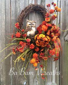 Owl Wreath, Fall Wreath, Autumn Wreath, Fall Floral, Fall Door Hanger, Owl Decor