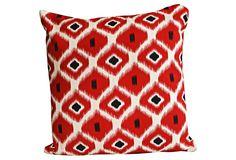 Divine Designs - Geometric Ikat Pillow Red