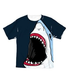 Another great find on #zulily! Black Shark Wide Mouth Full Print Dye Tee - Toddler & Kids by MAD Teez #zulilyfinds