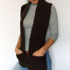 Brown Chunky Scarf  Crochet Scarf with Pockets Mens by KnitsbyVara, $50.00 - pockets for the pocketless outfit, genius!