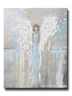 "ORIGINAL Abstract Angel Painting Guardian Angel Girl Spiritual Gift Grey Blue Home Decor Wall Art 30x24"""