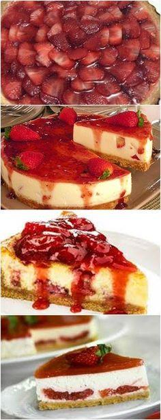 Cheesecake de Morango, PERFEITO PARA SOBREMESA EM OCASIÕES ESPECIAIS!! VEJA AQUI>No liquidificador, bata o leite, a ricota amassada, o cream cheese, o leite condensado, o creme de leite, a essência de baunilha e a gelatina dissolvida na água morna, por uns 5 minutos. #receita#bolo#torta#doce#sobremesa#aniversario#pudim#mousse#pave#Cheesecake#chocolate#confeitaria