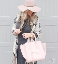 Blush Wool Floppy Hat