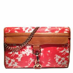 Rebecca Minkoff MAC Clutch in Persimmon Graffiti Canvas with Cognac Leather Trim Rebecca Minkoff Handbags, Evening Bags, Purses, Shoe Bag, Mac, Leather, Stuff To Buy, Accessories, Graffiti