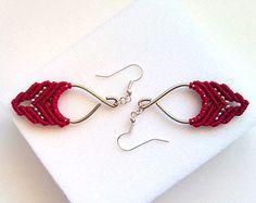Macrame earrings - Pendant bordeaux earrings -  Gypsy -  Boho earrings - Custom Order - Tribal earrings