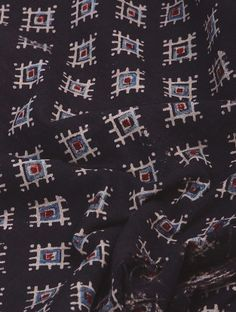 Black-Indigo Ajrakh-printed Natural Dyed Cotton Slub Fabric