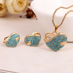Cheap set tableware, Buy Quality set off car alarm directly from China set bolts Suppliers:      Gold plated Jewelry Sets Fashion Accessories Heart Necklaces Earrings with FULL Austrian Crystal For Woamn Gi