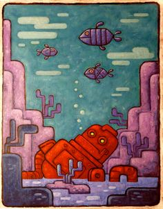 robot at the bottom of the sea