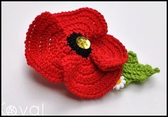 Poppy Pin - Crochet Would be a beautiful idea as trim on a prayer shawl for someone whose S.O. has died overseas.