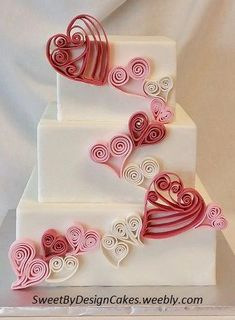 Quilled Hearts - 6 8 and square cake covered in fondant with white pink and dark pink quilled hearts for Valentine's Day. Valentines Day Cakes, Valentines Day Weddings, Pretty Cakes, Beautiful Cakes, Fondant Cakes, Cupcake Cakes, Buttercream Cake, Fondant Tips, Frosting