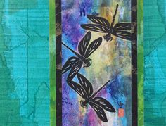 Japanese Dragonfly Abstract Ink Nature Painting, Mixed-Media Contemporary 11x14…