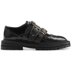 Burberry Leather Brogues (28.065 RUB) ❤ liked on Polyvore featuring shoes, oxfords, kohl shoes, burberry shoes, black buckle shoes, structure shoes and black brogues