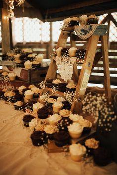 Rustic Cupcake Display Ladder wedding cupcakes 20 Best of Fall Wedding Cupcake Ideas Rustic Cupcake Display, Rustic Cupcakes, Rustic Cupcake Stands, Cupcake Stands For Weddings, Rustic Wedding Foods, Country Wedding Cakes, Quirky Wedding, Wedding Simple, Country Weddings