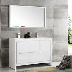 fresca allier white plywood and veneer 48inch double bathroom vanity with quartz top ceramic sink and mirror allier 48 white modern double sink vanity
