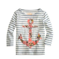 Girls' long-sleeve stripe floral anchor tee