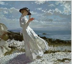 William Orpen (Irish 1878-1931) ~ Grace Reading At Howth Bay