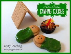 Camping Cookies : )   Nutter Butter cookies Mini Nilla Wafers Fruit Roll Up Black Edible Marker Frosting   For Campfire Oreo cookies Orange, Red & Yellow Gumdrops Pretzel Sticks Frosting   Optional:  Graham Crackers for tent