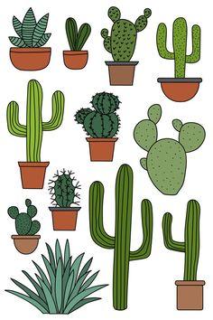 Cactus Planta, Cactus Y Suculentas, Art And Illustration, Art Illustrations, Easter Illustration, Cactus Clipart, Art Clipart, Cactus Craft, Cactus Drawing
