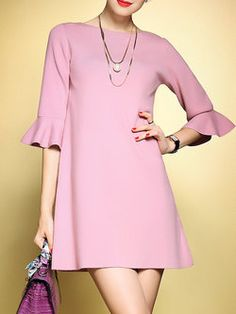 3/4 Sleeve Crew Neck Simple Ruffled Plain Mini Dress