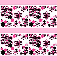 hot pink zebra animal print wallpaper border floral wall decal girl wall art stickers room decor baby nursery teen flower bedroom decoration baby nursery ba room wallpaper border