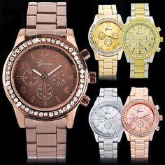 Geneva Bling Crystal Women Girl Unisex Stainless Steel Quartz Wrist Watch BHBU #DallasDealus #Fashion