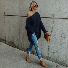 Blue Plain Asymmetric Shoulder Long Sleeve Casual Pullover Sweater