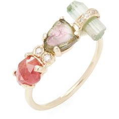 Jacquie Aiche Fine Women's 14K Yellow Gold, Tourmaline & 0.05 Total... ($825) ❤ liked on Polyvore featuring jewelry, rings, accessories, jacquie aiche, no color, 14k gold ring, 14k diamond ring, yellow gold rings, diamond rings and 14k ring