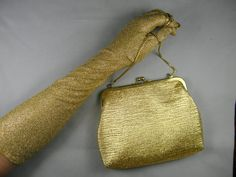 Vintage Gold Mid-Length Gloves and Clutch by BlackBirdVintiques