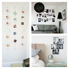 Fotos para decorar Corao de fotos na parede do quarto
