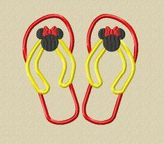 Design  Miss Mouse Head Flip Flops Applique by glitzystitches, $3.75