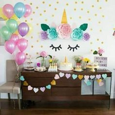 ideas for birthday party unicorn decorations Unicorn Themed Birthday, Baby Birthday, Party Decoration, Birthday Decorations, Unicorn Decorations Party, Fete Emma, Unicorn Baby Shower, Unicorn Wall, Bday Girl