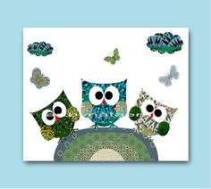 Owls Decor baby nursery wall art Boy room decor von artbynataera
