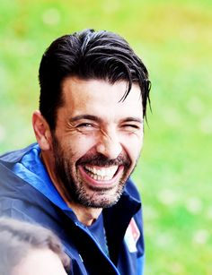 Gianluigi Buffon being a cutie before an Italy training session at Coverciano (10-06-2015).