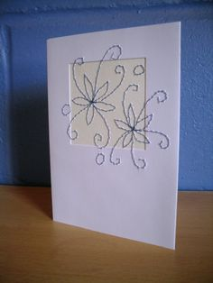 Greetings Card Stitched Blue Flower Card Blank by KezylouToo, £3.00