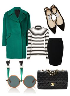 """Modern Mod"" by suityerself ❤ liked on Polyvore featuring Alexis Bittar, Tagliatore, Jimmy Choo, Oasis, Jacques Vert, Chanel, Rosie Assoulin and modern"