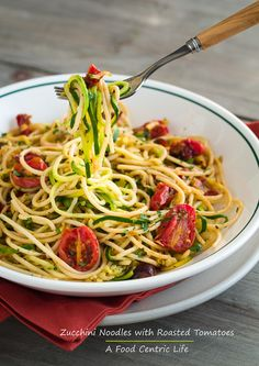 Zucchini noodles mixed with spaghetti, either brown rice for gluten-free or whole wheat. Toss with fresh herbs, garlic, olive oil and roasted tomatoes. Delicious flavors, healthy with less pasta and added veggies and colorful!