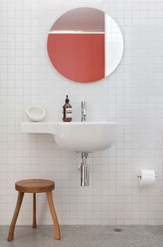 Square tile and floating sink Bad Inspiration, Bathroom Inspiration, Laundry In Bathroom, Washroom, White Bathroom, Bathroom Sinks, Bathroom Wall, Quirky Bathroom, Minimal Bathroom